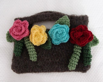 Crochet Felted Small Clutch with Decorative Leaves and Rosettes