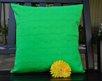 Pillow Cover - Vintage Mod Kelly Green Tone on Tone - 18 x 18