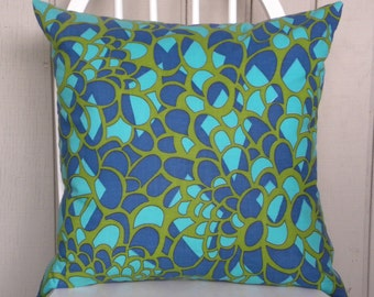 16 x 16 Pillow Cover - Vintage Mod Abstract Floral - Turquoise, Royal Blue and Olive