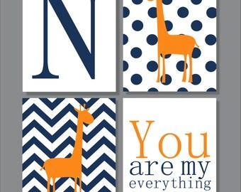 Giraffe, Children's Wall Art, Children's Art Print, Nursery Decor, Giraffe Decor- Set of four prints