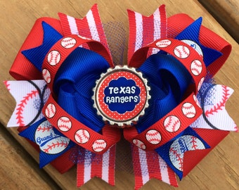 TEXAS RANGERS Hair Bow Boutique Style Rangers Baseball Hair Bow in Red White Blue and Baseball Ribbon with Tulle