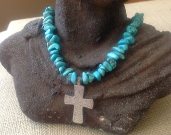 Vintage Style Silver Cross with Turquoise Nuggets Necklace