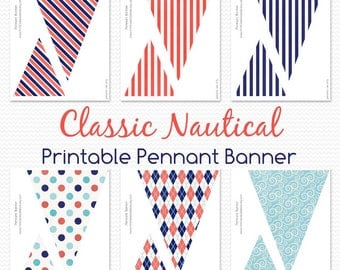 Pennant Banner, Nautical Baby Shower, Birthday Decorations, Nursery Room Decor, Bunting, Sailor Party  -- Printable File, Instant Download