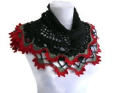 crochet scarf, hand-knitted, fashion, gift, spring, Women, shawl,  Black