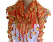 Knitting scarf, hand-knitted, fashion 2014, unique gift, spring, Women scarves, multicolor orange,