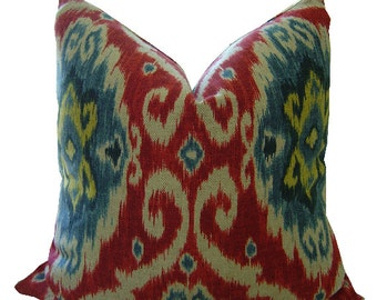 IMAN UBUD IKAT - Iman Ikat Pillow - Iman Cushions - Ikat Cover - Ikat Pillow - Red and Blue Ikat Pillow - Ikat Throw Pillow - Red Pillow