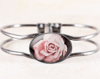 Pink Rose Bracelet - Victorian Bridal Jewelry, Cottage Chic Bracelet, Victorian Flower Bracelet Bangle