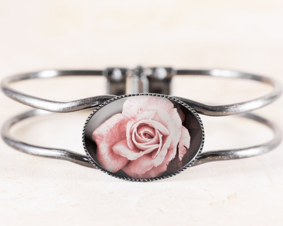 Pink Rose Bracelet - Victorian Bridal Jewelry, Cottage Chic Bracelet, Victorian Flower Bracelet Bangle