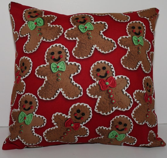 Gingerbread Decorative Pillows : 12x12 Christmas Gingerbread Men Decorative Pillow