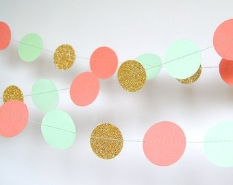Paper Garland in Coral, Mint and Gold, Double-Sided, Bridal Shower, Baby Shower, Party Decorations,Birthday Decoration,Coral Mint Gold Party