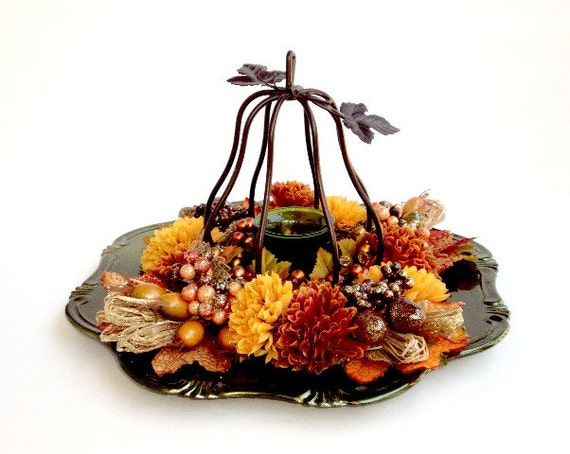 Reserved fall green charger plate centerpiece embellished with