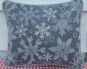 Gray Snowflake Pillow with Glittery Accents
