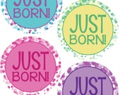 ADD ON Just Born Stickers for Baby, Just Born Stickers  - Dot - Just Born Stickers -Baby Shower Gift - Baby