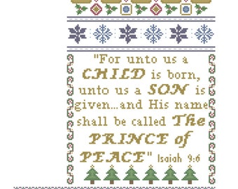 Christmas Stocking Cross Stitch Pattern/For Unto Us A Child Is Born Cross  Stitch Pattern