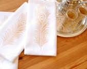 Gold Peacock Feather Formal Cloth Dinner Napkins