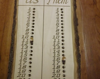One of a kind laser engraved Horseshoes scoreboard!, score keeper, custom sign, bean bag game,