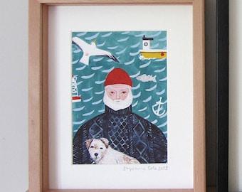 A5 Giclee print: Sea Dog Illustration