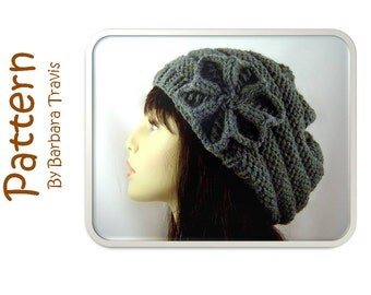 Knitting Pattern Slouchy Beret Beehive Design with Flower H1003