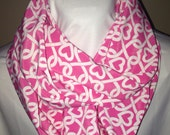 Pink with White Hearts Infinity Scarf