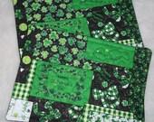 St. Patrick's Day Mug Rugs Black, Green White printed Fabric