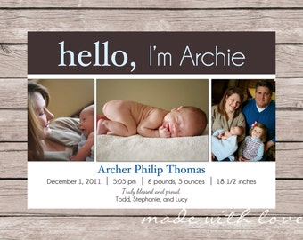 Hello-A Simple and Stylish Custom Photo Birth Announcement for Baby Girl or Boy, 5x7, personalized and printable