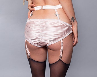 Suspender Belt Lingerie Garter Silk / Pink Wedding - DECO GARTER BELT Ready-to-Ship