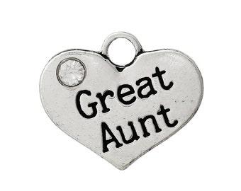 "1 Antique Silver Rhinestone ""Great Aunt"" Heart Charm Pendant 16x14mm  chs1375a"