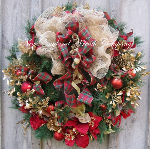 Christmas Wreath, Holiday Wreath, Poinsettia Wreath, Designer Christmas Wreath, Elegant Holiday Décor