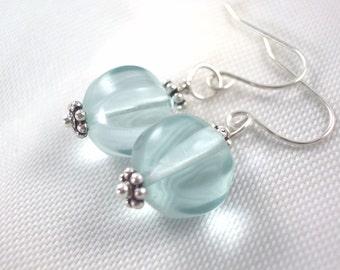 Light Aquamarine and Silver Teardrop Bridesmaids   wedding  dangle under 10 earrings