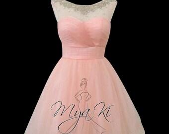 Peach pink sleevless sheer embelishe Knee length prom formal bridesmaid dress (MKP30)