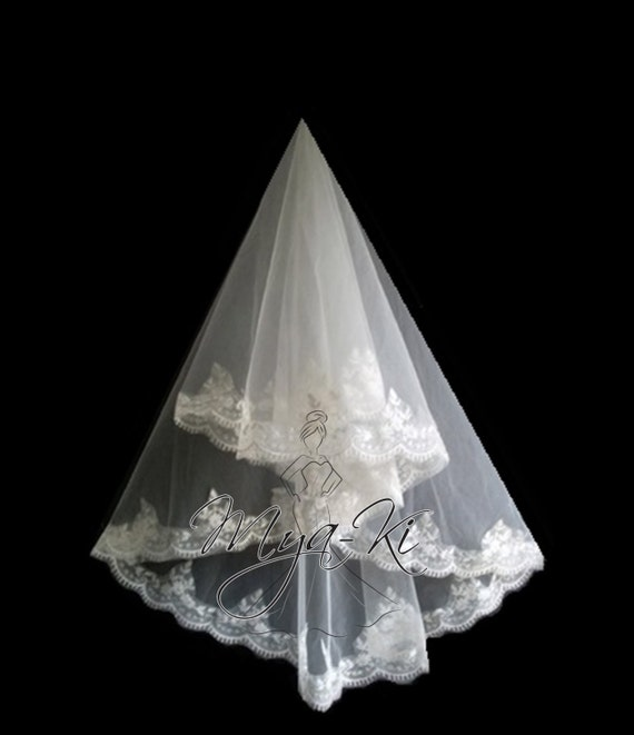 2 in 1 Single Layer Lace Trim knee Length or elbow length Veil White