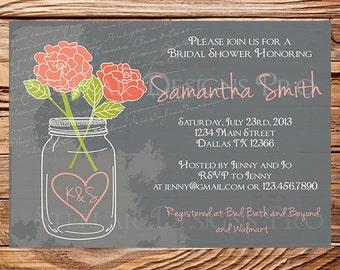 Mason Jar Roses Bridal Shower Invitation, Chalkboard, Roses, Mason Jar, Coral, Wedding Shower, Coral Roses, Chalkboard Bridal Shower, 5218