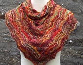 Women's hand knitted hand dyed luxury shawl / shawlette. OOAK Autumn / Fall colours