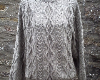 Men's fisherman style aran cable sweater. Hand knitted in pure British wool. 100% Bluefaced Leicester yarn.
