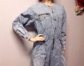 Vintage 80's Liz Wear acid  washed denim Jumpsuit Pants Sz  Medium