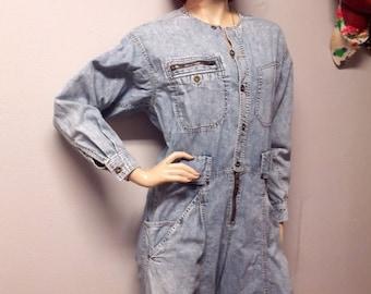 Vintage 80's Liz Wear acid  washed denim Jumpsuit Pants Sz  Medium