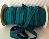 """Teal FOE #347 Teal Blue Fold Over Elastic Shiny Solid FOE- 5 or 10 yards 5/8"""" inch Headbands Hair Ties Satin Elastic Soft Elastic"""