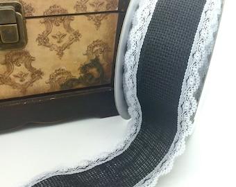 "2.5"" Black burlap lace edge ribbon trim burlap with white lace edge trim  2 1/2"" wide trim vintage burlap ribbon wholesale burlap"