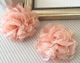 "Set of 2 Peach  Chiffon and Lace Flowers - Large 3.5"" shabby scalloped petal puffy layered Ava flowers wholesale wedding bridesmaids flowers"