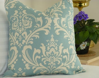 Choose Your Cushion Cover, Blue Accent Pillows - Blue Pillow Cover Cushions - Blue Pillows - Damask Village Blue Pillow Cover 18 x 18