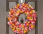 Spring Wreath- Large- Colorful Tulips Wreath