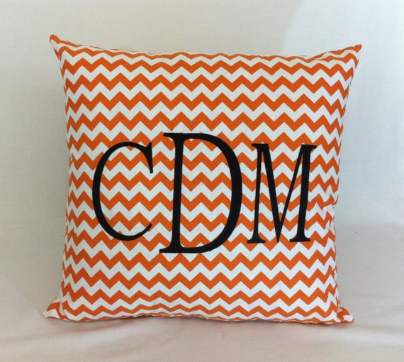 Madison Square 18-Inch Decorative Pillows : Monogrammed Chevron Pillow Cover 18 inch square Custom