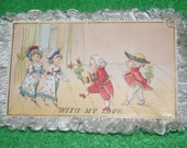 SALE Two Sided Victorian Valentine with Fringe Kids in Costumes Girl Carrying Doll with Geese Valentine Card Antique Valentine Fringed Card