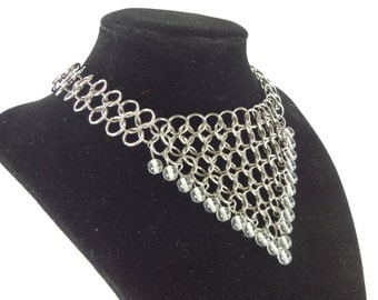 Chainmaille Wedding Necklace With Clear Glass Beads