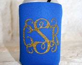 Monogram Can Cooler, Personalized Can Cooler, Monogrammed Beverage Insulator, Monogrammed gifts, glitter monogramned Can Cooler