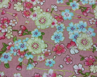 Japanese cherry blossoms and wind, pink, gold metallic, fat quarter, pure cotton fabric