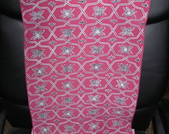 GORGEOUS GEOMETRIC link  Vintage Japanese Chirimen Crepe silk fabric Hot Pink  13.5 x 63 inches