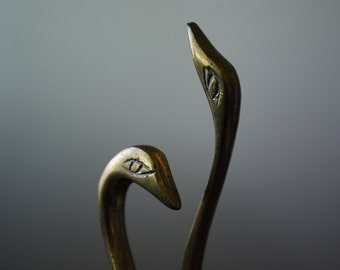 vintage pair of solid brass swans - miniatures - cottage chic - minimalist