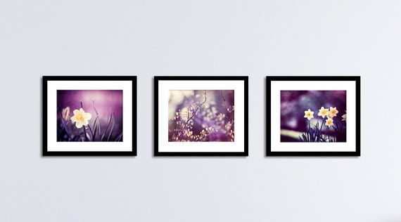 purple wall art set dark plum yellow nature flower. Black Bedroom Furniture Sets. Home Design Ideas