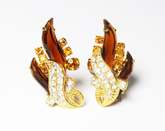 Vintage Clip-on Earrings in SPARKLING Root-beer, Topaz and Rhinestone - Juliana Style - Fall Colors from LorettasCache